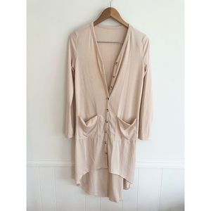 Boutique Brand High Low Cardigan Tan Size Small